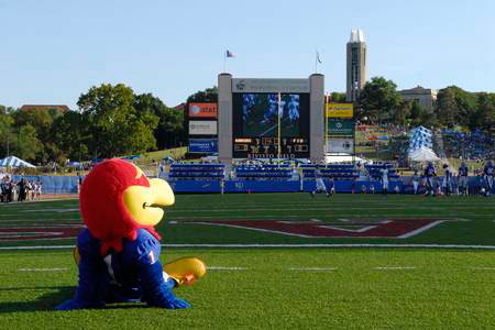 University of Kansas Jayhawk mascot at one of the school's sports fields. KU photo