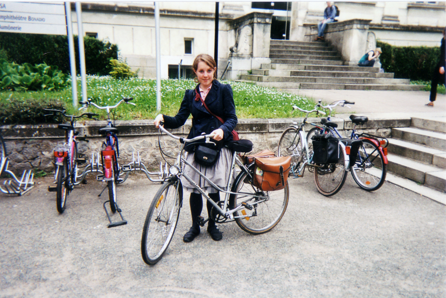 Student in front of main administration building, Angers, France